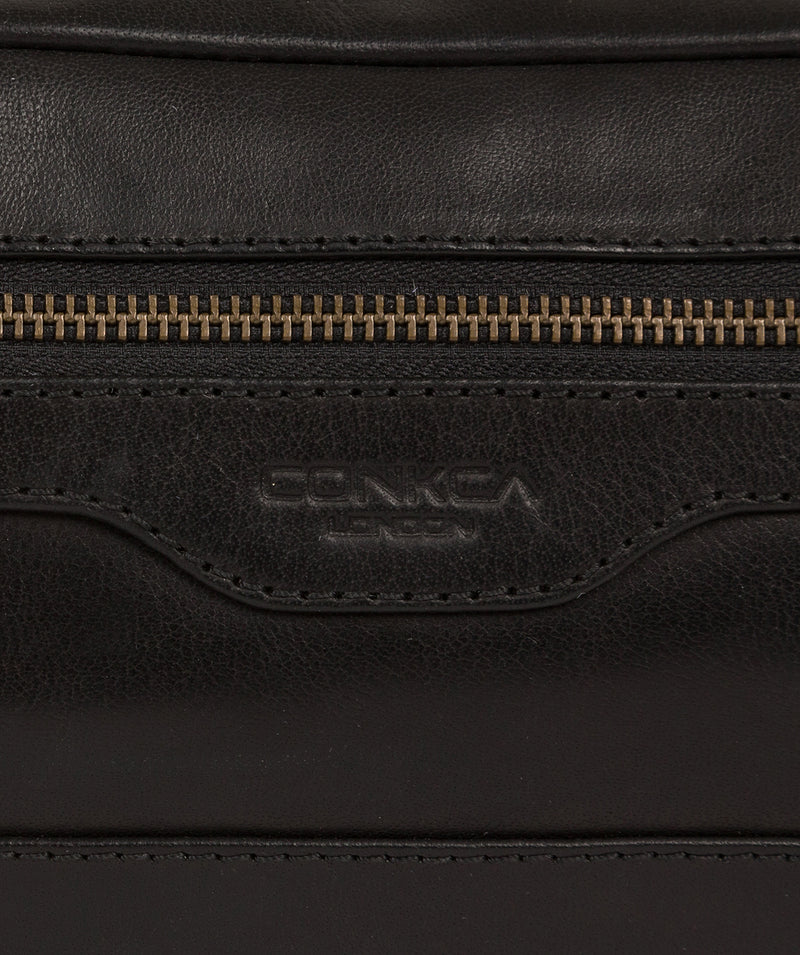'Careca' Black Leather Washbag image 6
