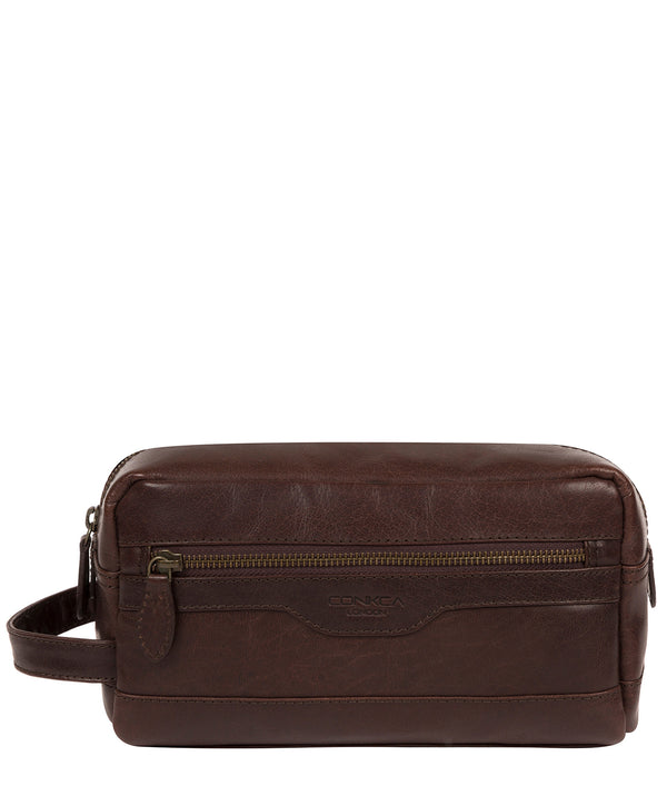 'Careca' Dark Brown Leather Washbag image 1