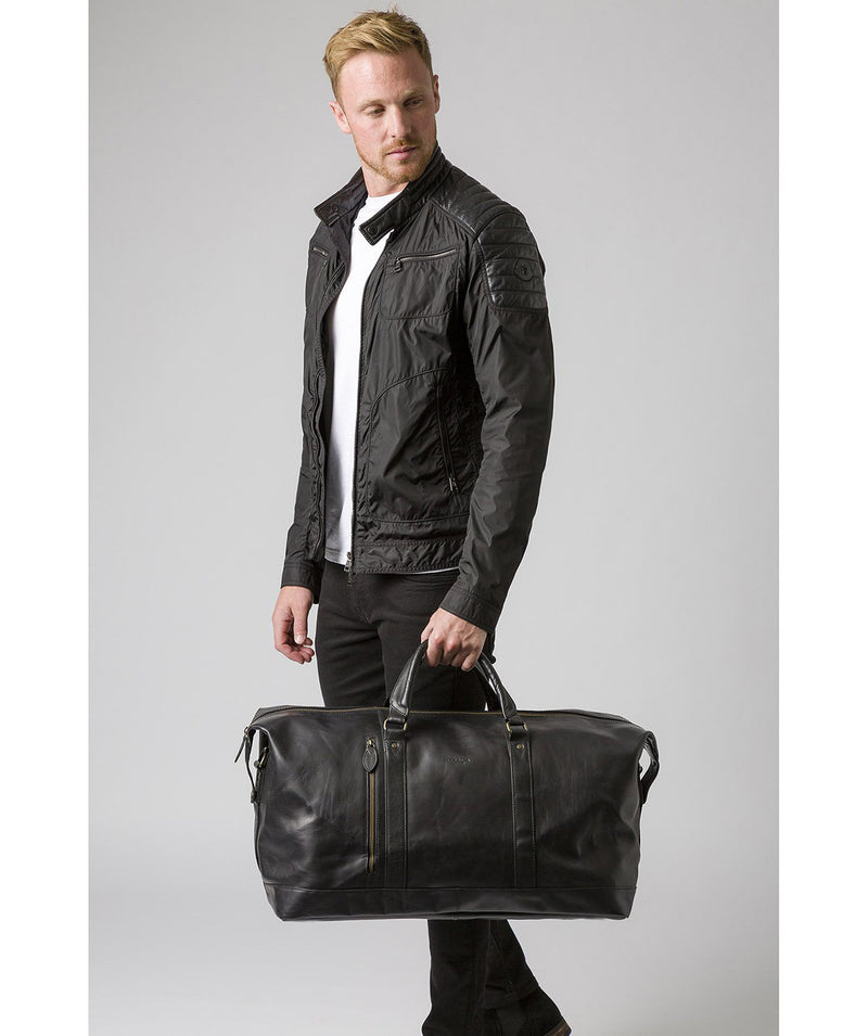 'Gerson' Black Leather Holdall image 9