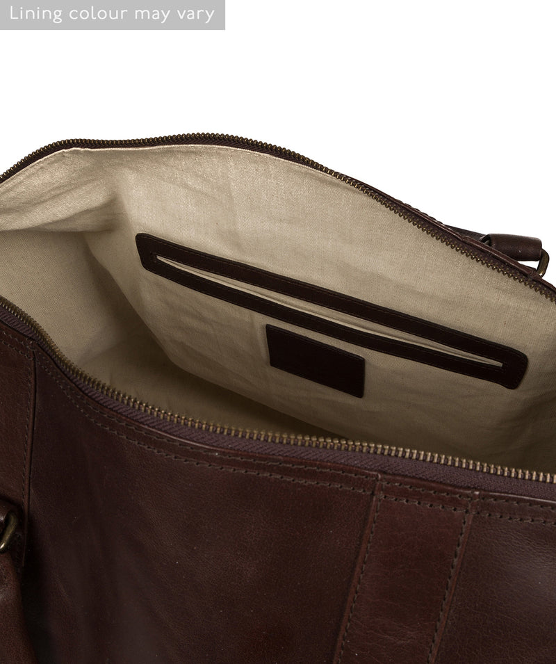 'Gerson' Dark Brown Leather Holdall image 4