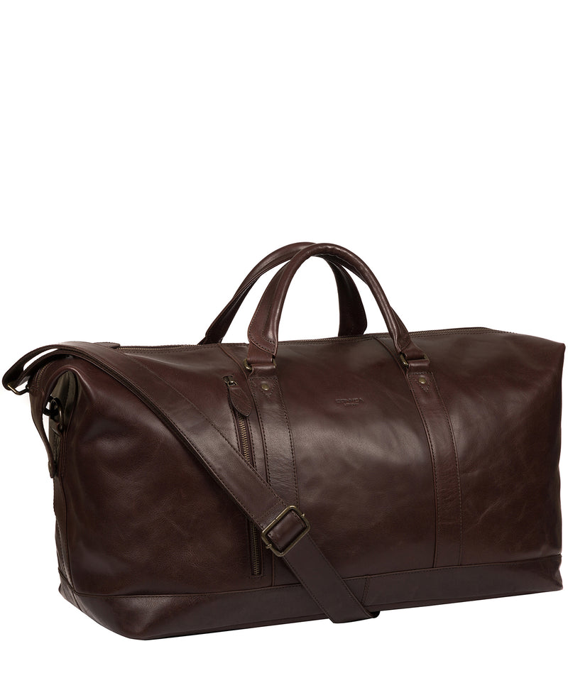 'Gerson' Dark Brown Leather Holdall image 5