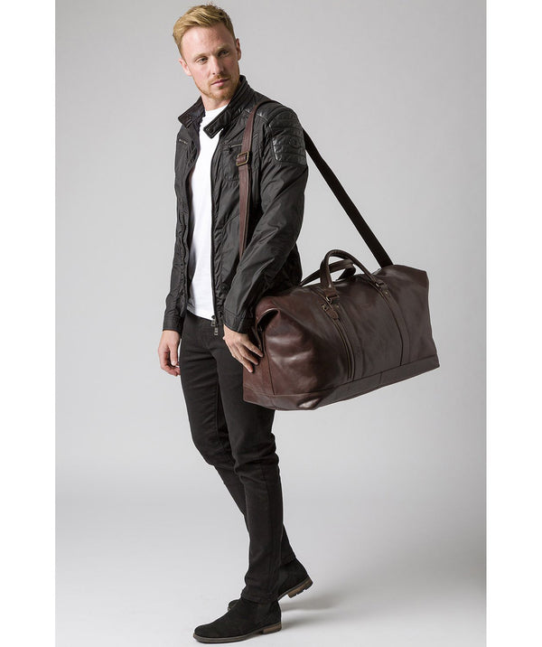 'Gerson' Dark Brown Leather Holdall
