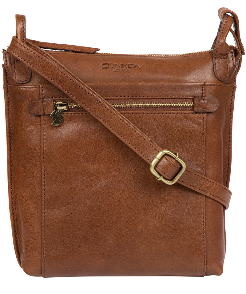'Rego' Conker Brown Leather Cross Body Bag image 1