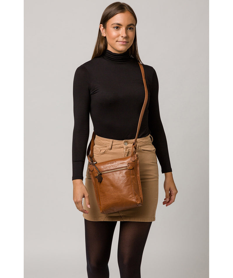 'Rego' Conker Brown Leather Cross Body Bag image 2
