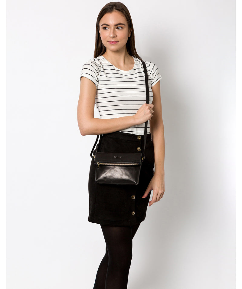 'Emin' Black Leather Cross Body Bag image 2