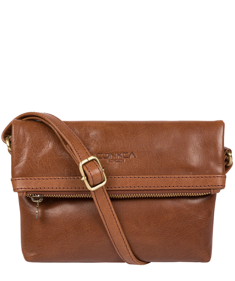 'Emin' Conker Brown Leather Cross Body Bag image 1