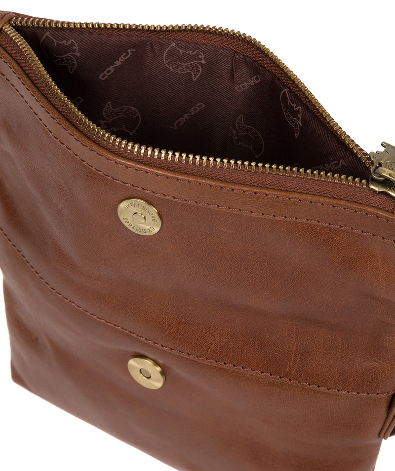 'Emin' Conker Brown Leather Cross Body Bag image 4