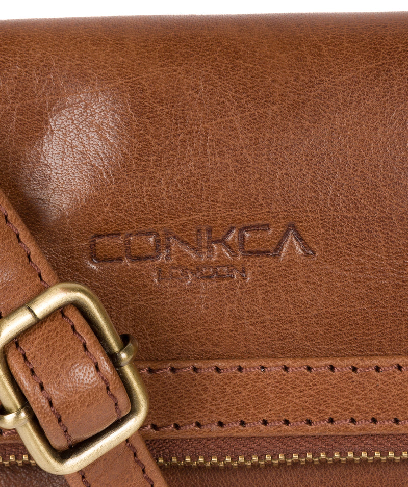'Emin' Conker Brown Leather Cross Body Bag image 5