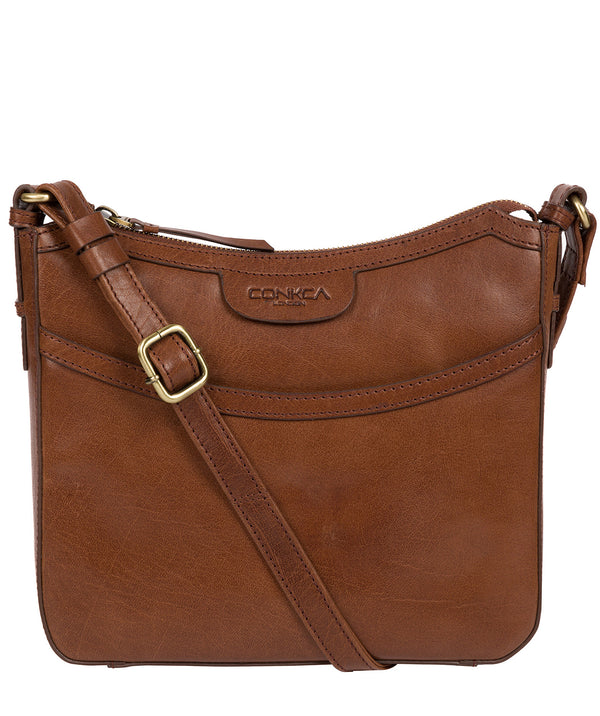 'Tamara' Conker Brown Leather Cross Body Bag image 1