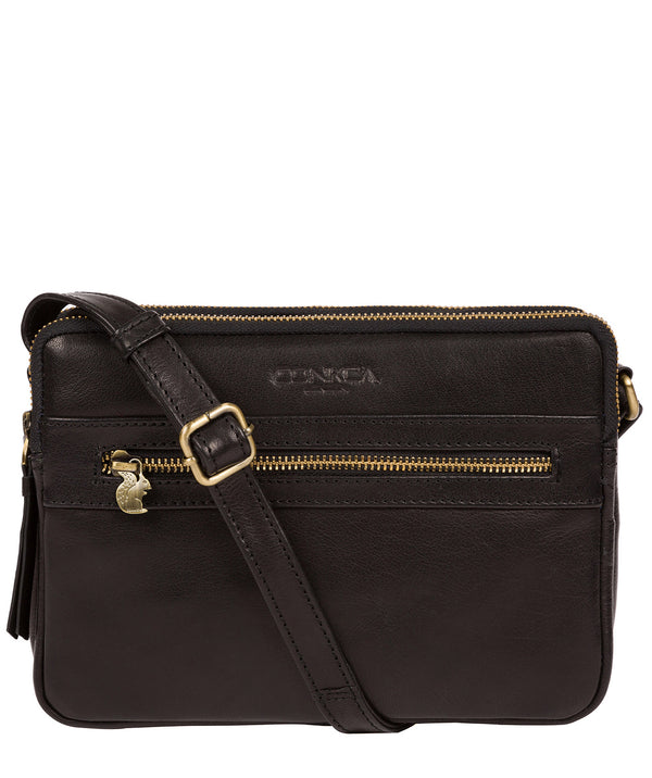 'Drew' Black Leather Cross Body Bag image 1