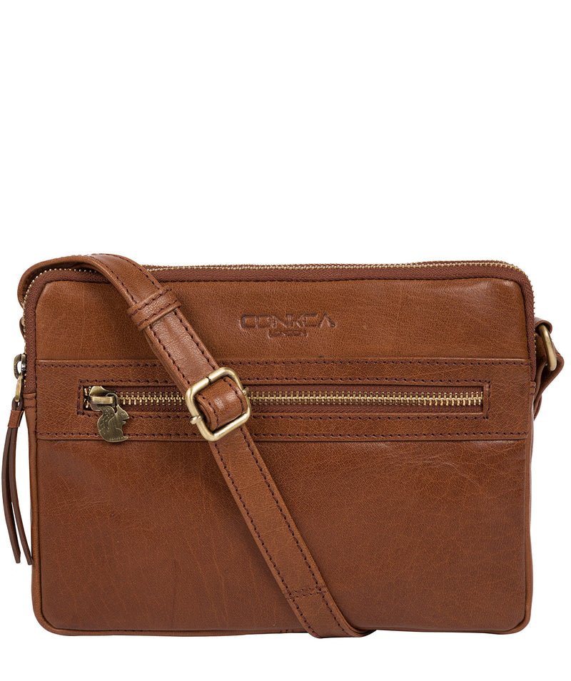 'Drew' Conker Brown Leather Cross Body Bag image 1