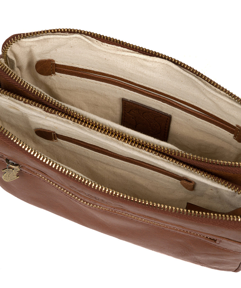 'Drew' Conker Brown Leather Cross Body Bag image 5