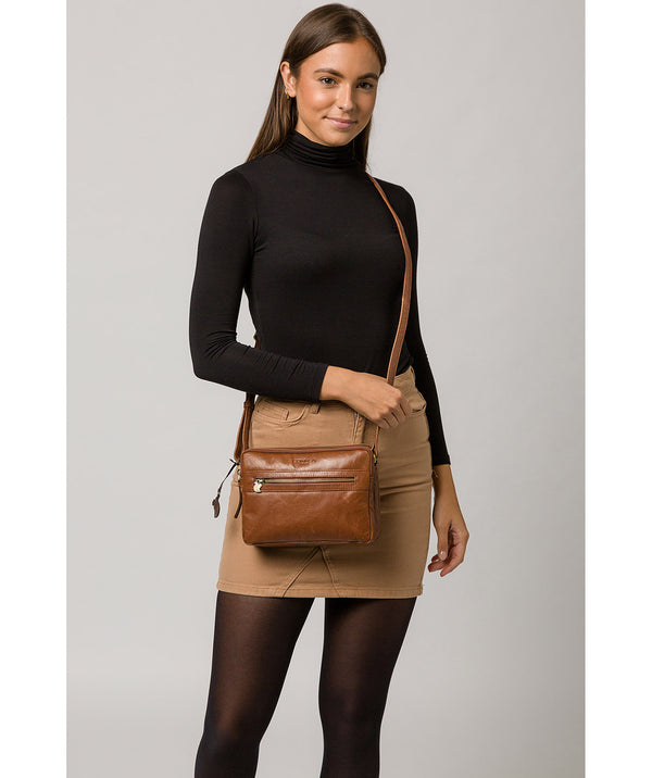 'Drew' Conker Brown Leather Cross Body Bag image 2