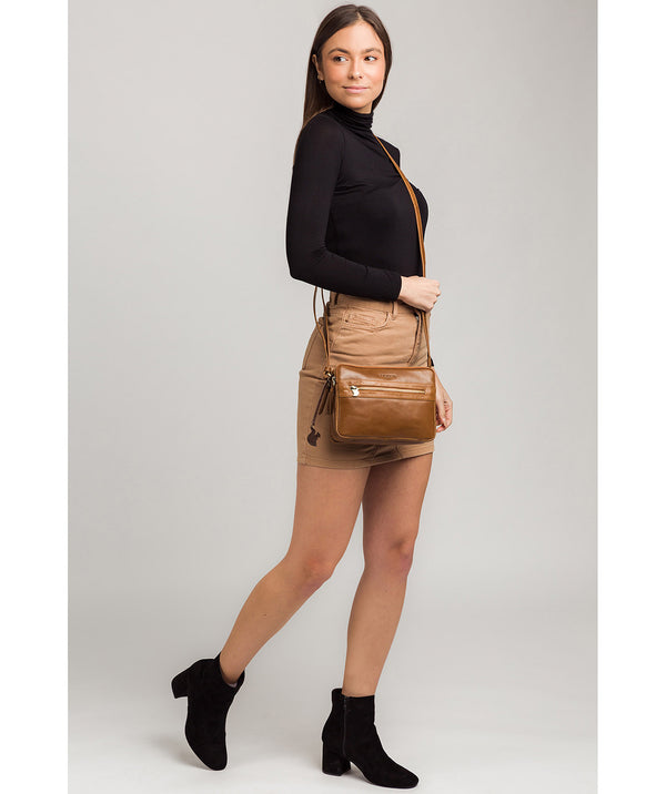 'Drew' Dark Tan Leather Cross Body Bag image 2