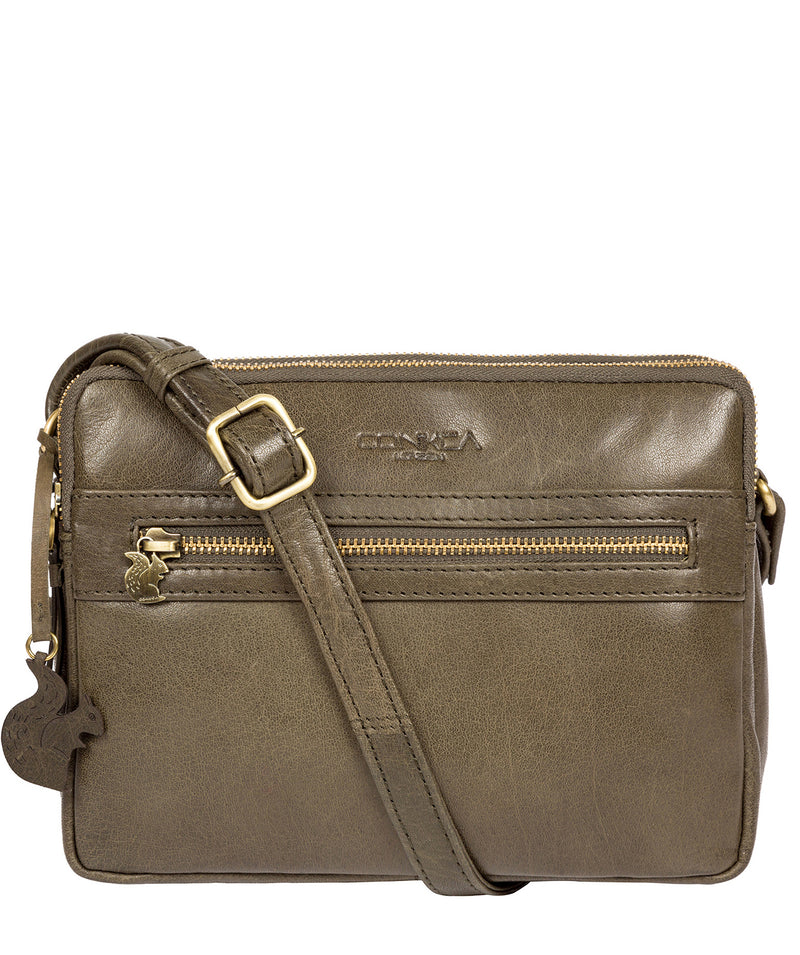 'Drew' Olive Leather Cross Body Bag image 1