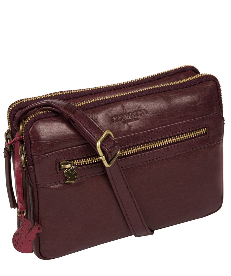 'Drew' Plum Leather Cross Body Bag Pure Luxuries London