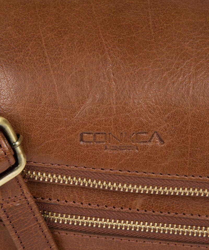'Marina' Conker Brown Leather Shoulder Bag image 5