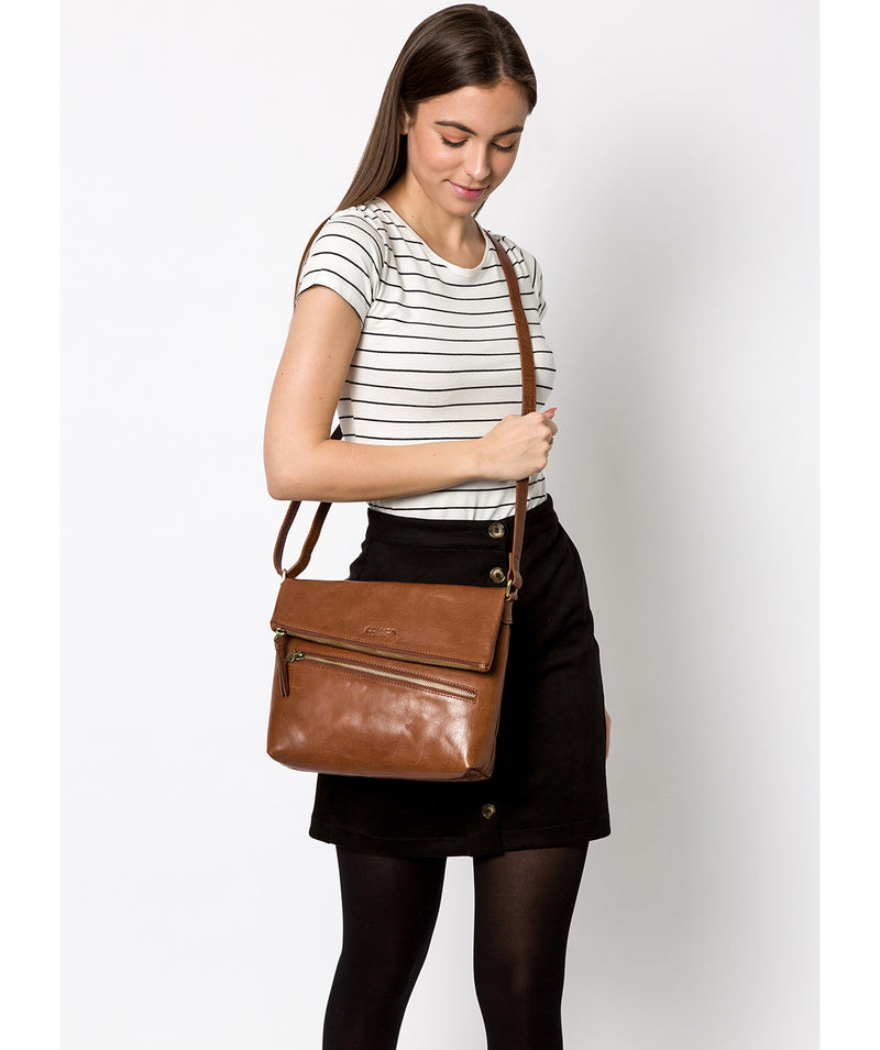 'Marina' Conker Brown Leather Shoulder Bag image 2