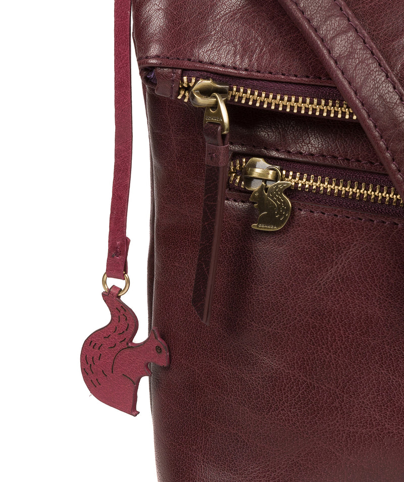 'Marina' Plum Leather Shoulder Bag Pure Luxuries London