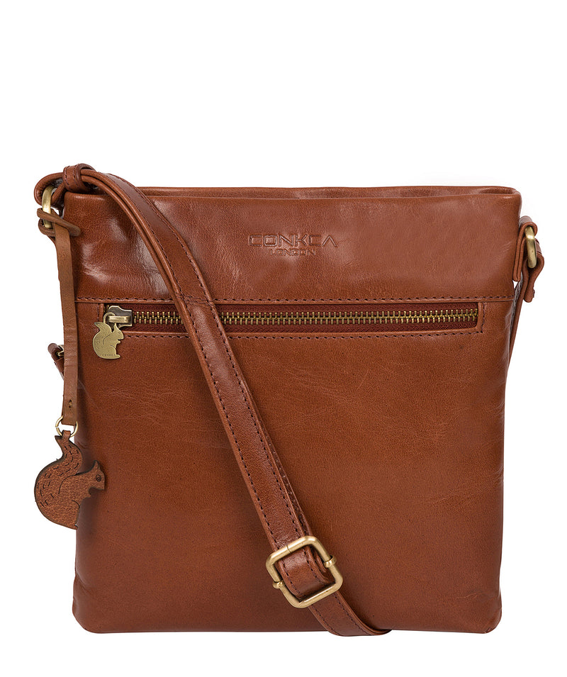 'Yayoi' Conker Brown Leather Cross Body Bag image 1
