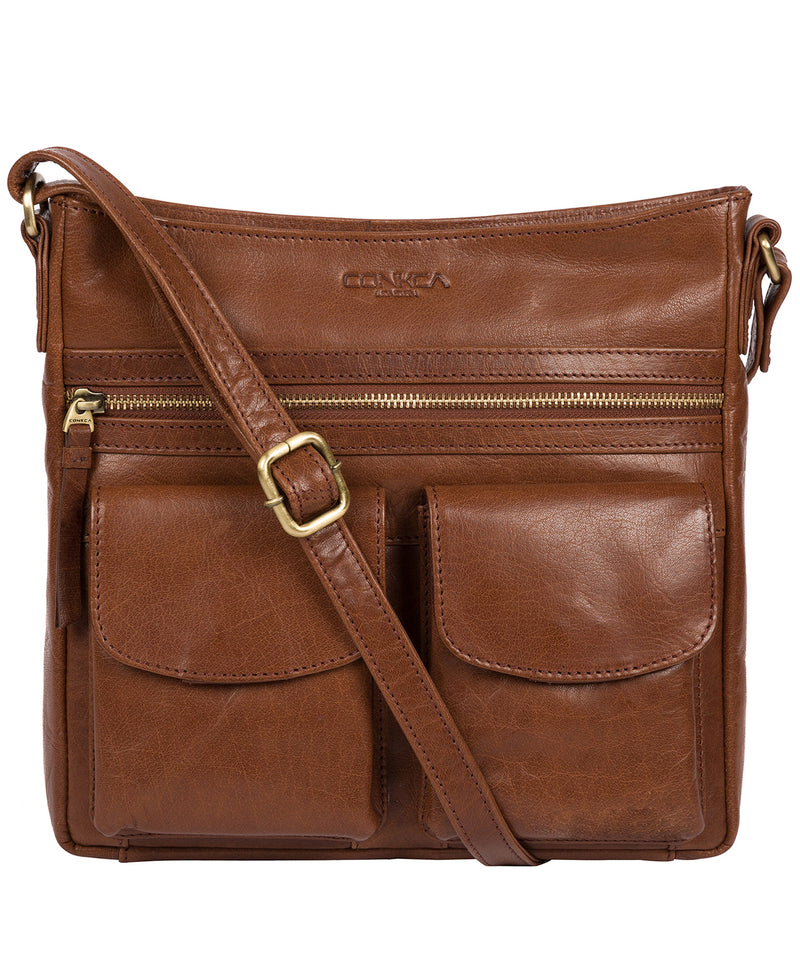 'Bon' Conker Brown Leather Cross Body Bag image 1