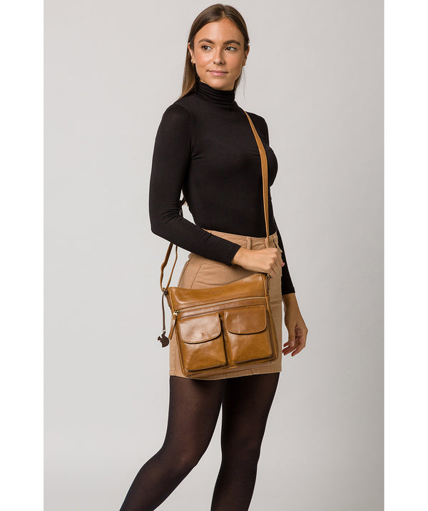 'Bon' Dark Tan Leather Cross Body Bag image 2