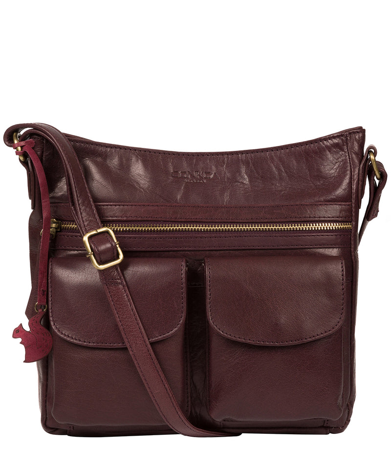 'Bon' Plum Leather Cross Body Bag image 1