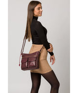 'Bon' Plum Leather Cross Body Bag image 2