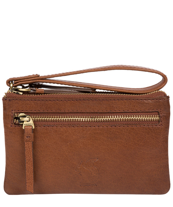 'Aswana' Conker Brown Leather Clutch Bag image 1
