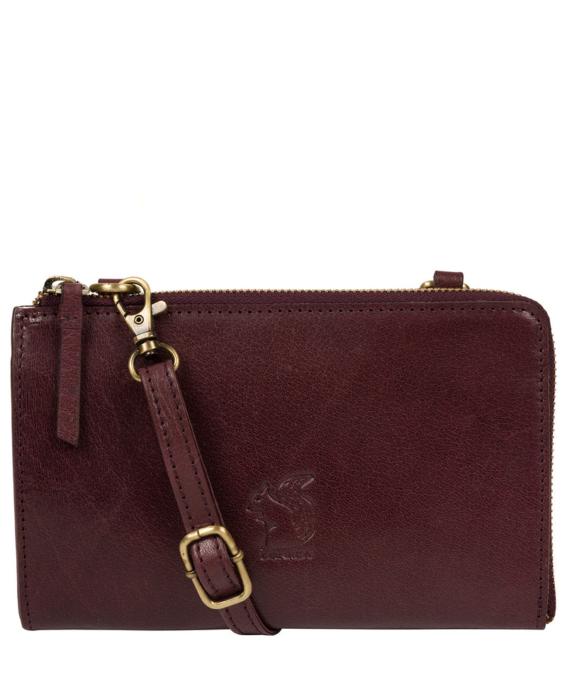 'Senga' Plum Leather Clutch Bag image 1