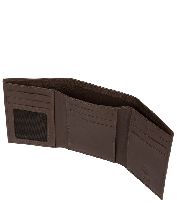 'Aalto' Dark Brown Leather Tri-Fold Wallet Pure Luxuries London