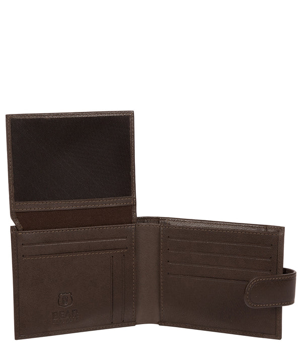 'Orvar' Dark Brown Leather Bi-Fold Wallet Pure Luxuries London