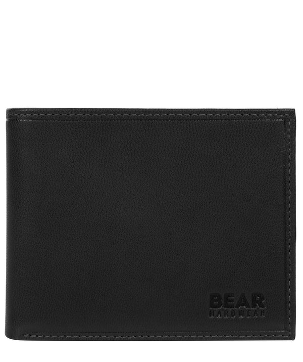 'Grid' Black Leather Bi-Fold Wallet image 1