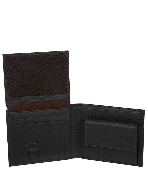 'Grid' Black Leather Bi-Fold Wallet image 3