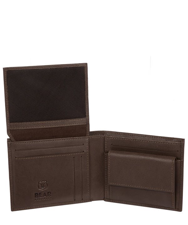 'Grid' Dark Brown Leather Bi-Fold Wallet Pure Luxuries London