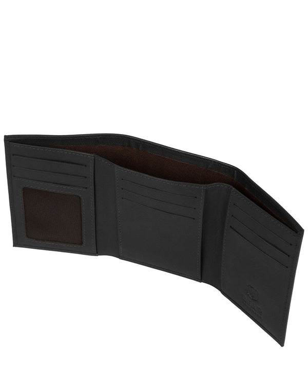 'Hannes' Black Leather Tri-Fold Wallet Pure Luxuries London