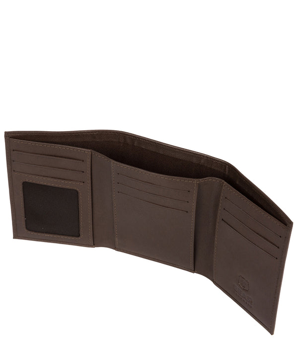 'Hannes' Dark Brown Leather Tri-Fold Wallet image 3