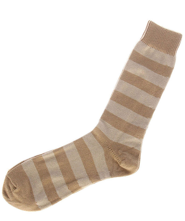 Camel and Oatmeal Striped Cotton Socks