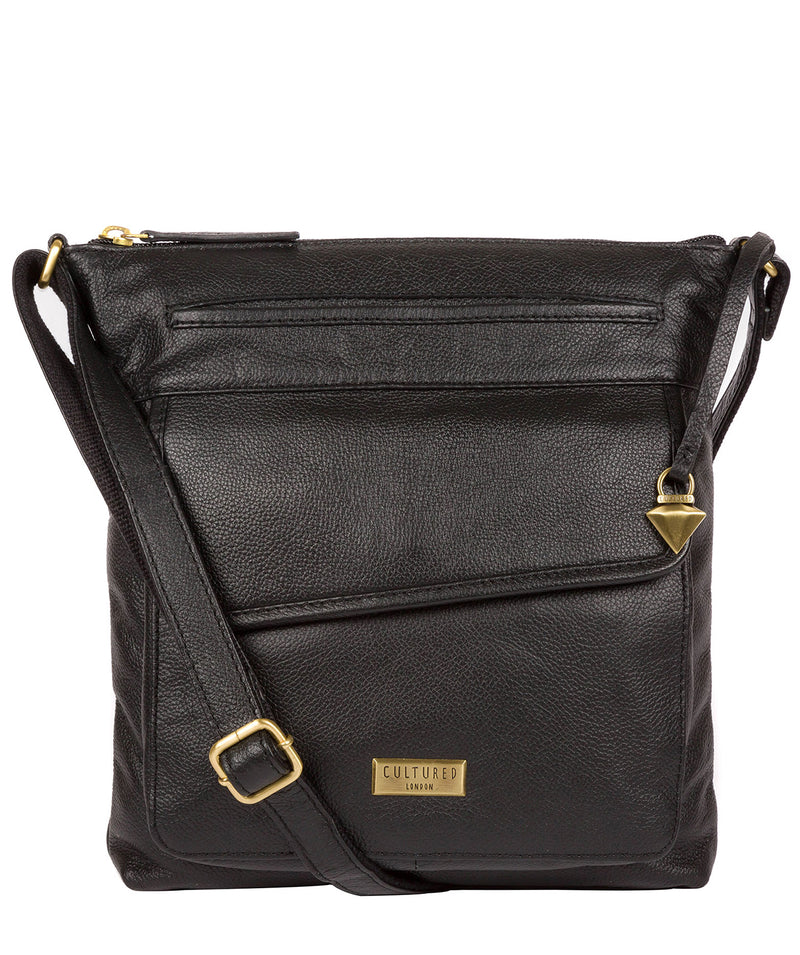 'Elva' Black Leather Cross Body Bag image 1