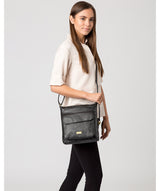 'Elva' Black Leather Cross Body Bag image 2