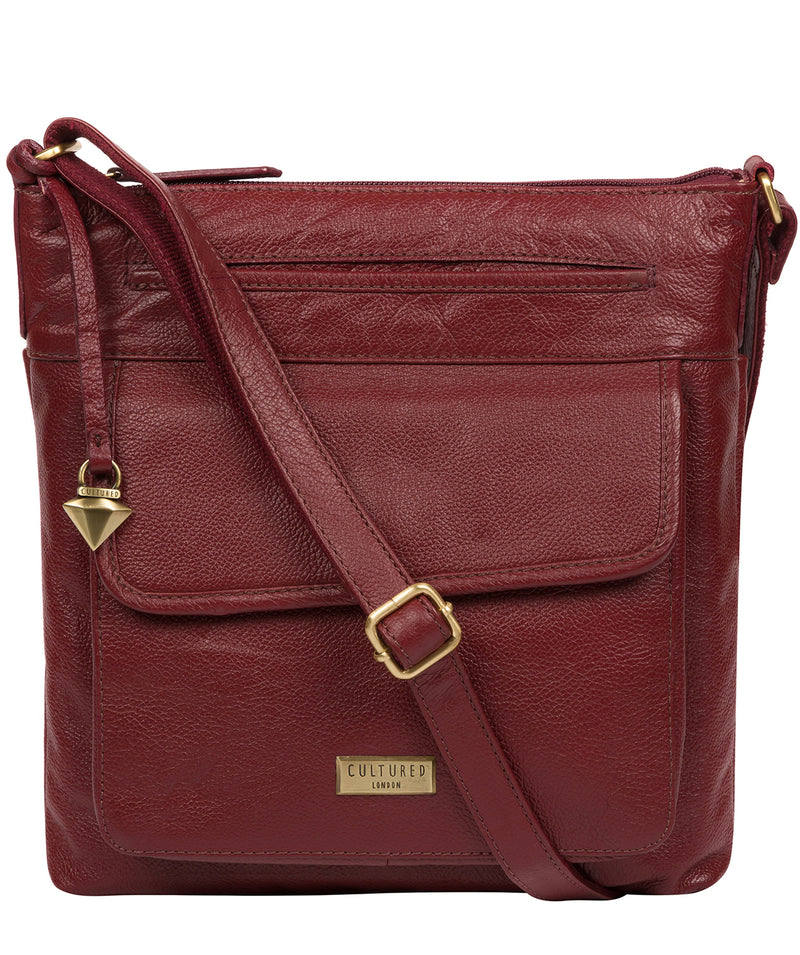 'Elva' Ruby Red Leather Cross Body Bag image 1