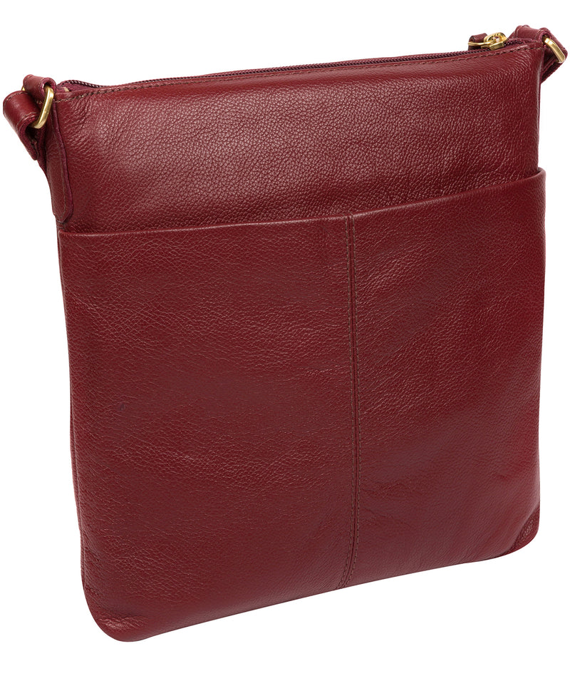 'Elva' Ruby Red Leather Cross Body Bag image 3