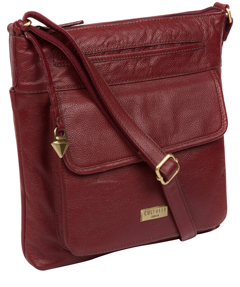 'Elva' Ruby Red Leather Cross Body Bag image 5