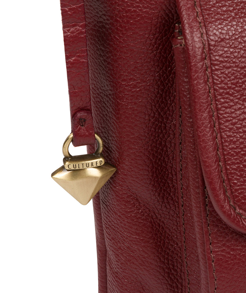 'Elva' Ruby Red Leather Cross Body Bag image 6
