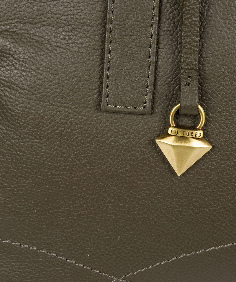 'Liana' Olive Leather Handbag image 6