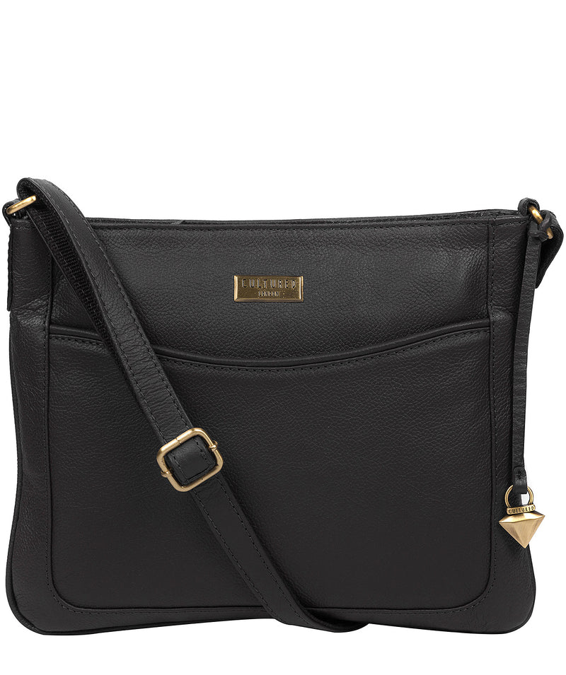 'Mireya' Black Leather Cross Body Bag
