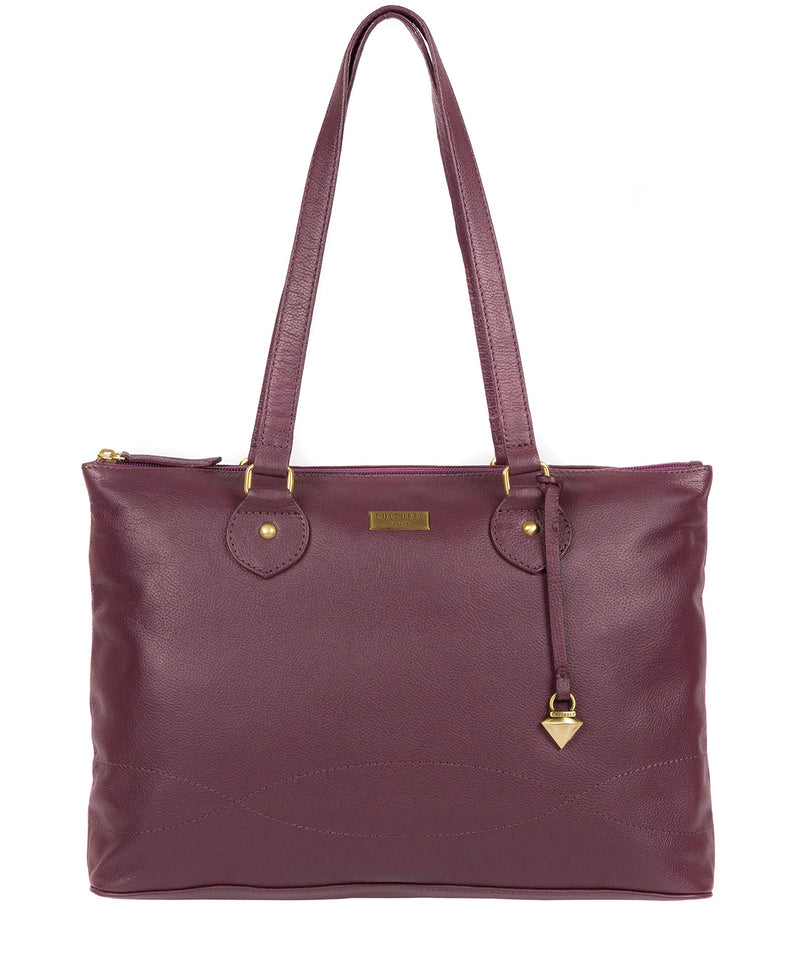 'Idelle' Fig Leather Tote Bag image 1