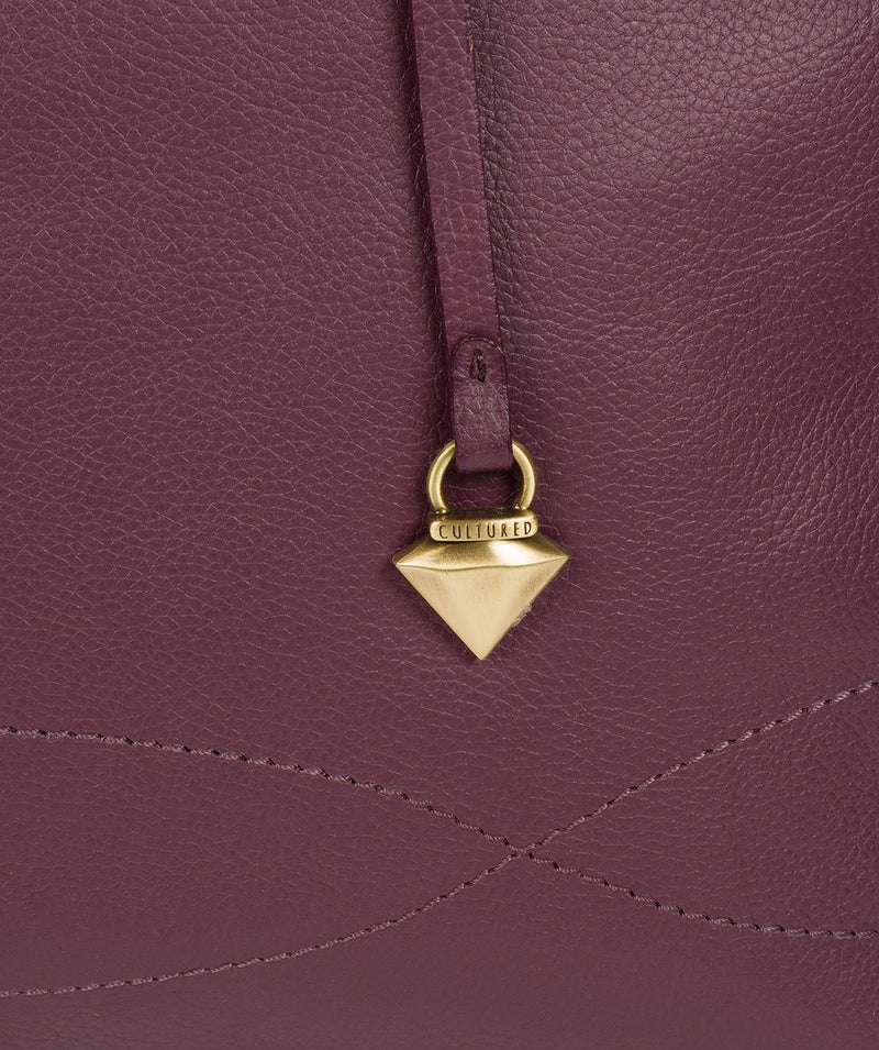 'Idelle' Fig Leather Tote Bag image 5