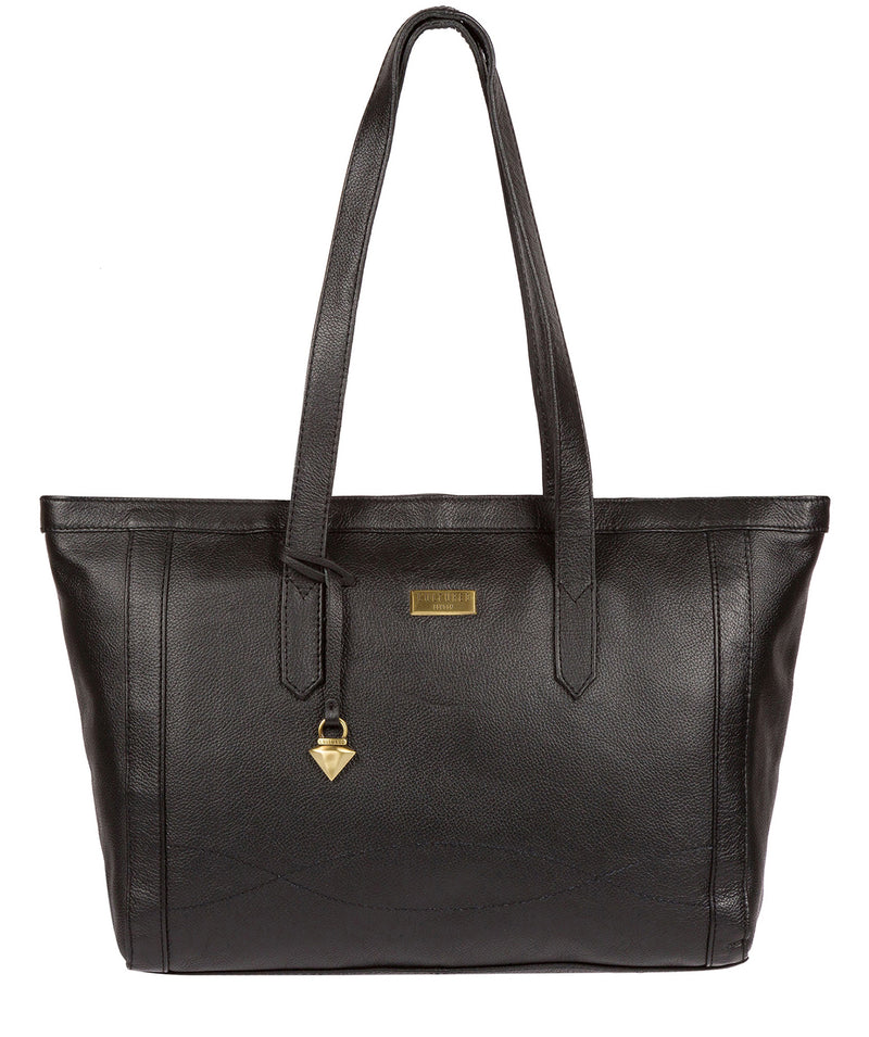 Farah' Black Leather Tote Bag image 1