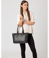 Farah' Black Leather Tote Bag image 2